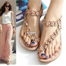 New Womens Sweet T-strap Bohemia Synthetic Leather Flower Thongs Sandals Shoes P