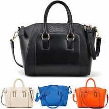 Fashion Women Handbag PU CROCO Pattern Shoulder Bag Satchel Tote Purse Bags