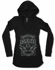"JOHNNY CASH ""MEAN AS HELL"" V-NECK HOODED TUNIC L/S SHIRT NEW OFFICIAL JUNIORS"