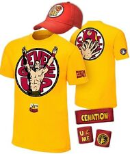 John Cena Boys Yellow U Can't See Me Kids Costume T-shirt Hat Wristbands