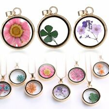 Wishing Glass Locket Pendant Real Dried Pressed Flower Necklace Natural Handmade