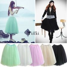 BOHO Women Summer TUTU Dance Fairy Style 5-LAYERS Tulle Dress Mini Skirts TXWD