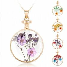 """Gold Round Glass Charms Locket Pendant Real Dried Pressed Flower Necklace 24"""""""