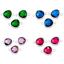 2PCs Silver Plated Connectors Fashion Jewelry Findings Inlay Resin Rhinestone