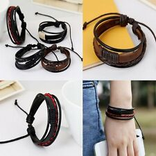 Friendship Retro Multilayer Leather Wristband Bracelet Cuff Bangle Men Women New