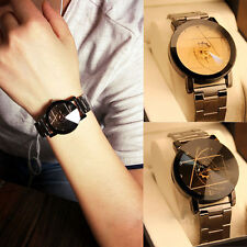 Luxury Men Women Quartz Analog Wrist Compass Couple Watch Stainless Steel