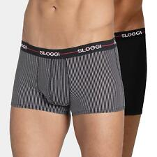 Sloggi Mens Start Boxer Short Briefs 2 Pack Black/Stripe New Sizes 32 36 38 40