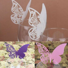 50PCS Butterfly Wine Glass Place Escort Paper Card for Wedding Party Bar Decor