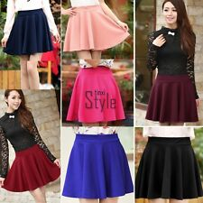 Hot Womens Stretch High Waist Short Plain Skater Flared Pleated Mini Skirt TXST