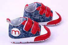 Baby GirlsFirst Shoes Velcro Crib Shoes Soft Sole Sneakers Size 0-12 Months