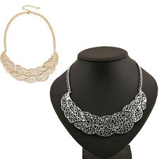 Hot Girl Hollow out Leaf Necklace Pendant Metal Chain Statement Necklace Fashion