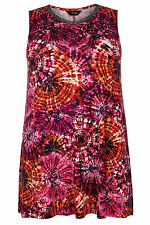 Yoursclothing Plus Size Womens Tie Dye Longline Top With Beaded Neckline