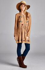 PLUS SIZE TAUPE FLORAL BOHO GYPSY BABYDOLL BLOUSON SHIRT TUNIC DRESS 1X 2X 3X