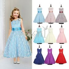 Hot Flower Girl Princess Floral Lace Pageant Party Wedding Junior Dress Birthday