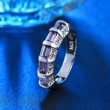 Fashion Trendy Size 6,7,8 Amethyst 18K White Gold Filled Womens Engagement Rings