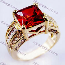 Women's Princess Cut Red Ruby Wedding Ring Band 10KT Yellow Gold Filled Size8-12