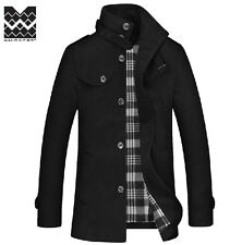 Fashion Men's Woolen Stand Collar Slim Fit Casual Jacket Coat Outwear Parka