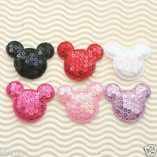 """(40 - 60 pcs) x 1.5"""" Padded Sequined Felt MOUSE Appliques for Mickey ST543M"""