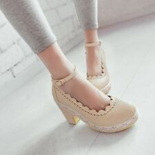 New Hot Women's Patent Leather Round Head Ankle Stap Platform Casual Heels Shoes