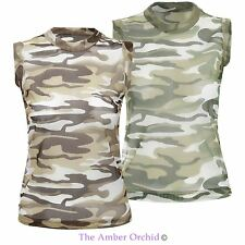 Womens Ladies Vest Camouflage Army Fishnet Mesh Top Summer Gym Top