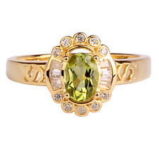 5x7mm Green Peridot Women Ring Gold GP Sterling Silver Band August Birthstone