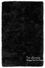 Shag Area Rug - Black -  Faux Fur Rectangle - Ultra Suede Lining - 12 Colors