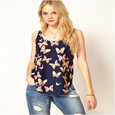Fashion Women Casual Butterfly Print Blouse Summer Sleeveless T-Shirt Tank Top