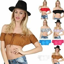 Womens Ladies Ruched Cap Sleeve Bardot Off Shoulder Knot Front Bandeau Crop Top