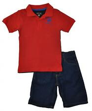 Beverly Hills Polo Club Toddler Boys Red & Blue Polo 2pc Short Set Size 2T 4T