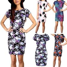 Womens Ladies Floral Round Neck Cap Sleeve Stretchy Fitted Bodycon Midi Dress