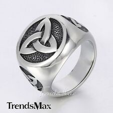 Fashion Celtic Knot Signet Ring Mens Black Silver 316L Stainless Steel Ring Gift