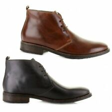 Base London GREENWICH Mens Waxy Leather Comfy Smart Casual Laceup Chukka Boots