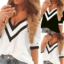 Hot Sexy Women Lady V-Neck Loose T-Shirt Chiffon Short Sleeve Tank Tops Blouses