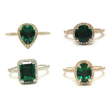Halo Ring Emerald/Oval/Pear/Round Cut Emerald Solid 14K Gold Wedding Bridal Ring