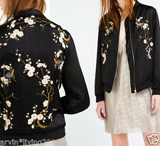 Satin Embroidery Floral Jacket Womens Embroidered Bomber Coat Baseball Moto S- L