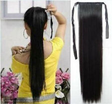 "Women long straight 50%human hair ponytail wigs tied up 20"" PO27"