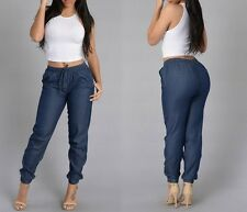 Womens Fashion Harem Pants Loose Elastic Waist Casual Trousers Jeans Slim Outfit