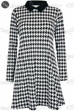 Womens Ladies Dog Tooth Printed Contrast Collared Long Sleeve Tunic Swing Dress