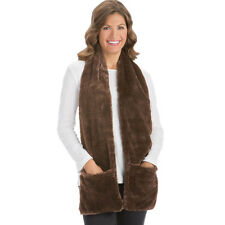 Collections Etc Faux Fur Winter Scarf with Pockets