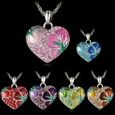 New Sweet Love Heart Crystal Enamel Pandent Sweater Chain Long Flower Necklace