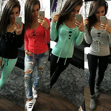Fashion Women Sexy Long Sleeve Shirt Casual Blouse Loose Cotton Top T Shirt