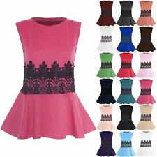 Womens Stretchy Plain Ladies Pleated Flared Sleeveless Waist Lace Peplum Top