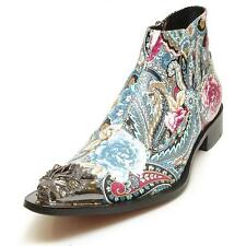 New Men's Fiesso Floral Paisley Print Pointed Metal Toe Boots w/ Zipper FI 6894