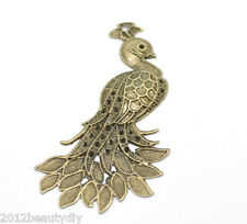 Wholesale Bronze Tone Filigree Peacock Wraps Connectors Pendants 7x4.2cm