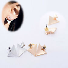 Fashion Women Personality Gold/Silver Plated Triangle Earring Ear Stud Jewelry