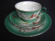 GREEN JAPANESE HAND PAINTED MORIAGE DRAGONWARE TRIO, TEACUP, SAUCER & PLATE