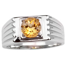 .925 Sterling Silver Ring with 8mm Round Natural Yellow Citrine Men Jewelry
