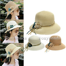 Elegant Womens Pastoral Style Dome Flowers Straw Outdoor Beach Sun Hat Cap Gift