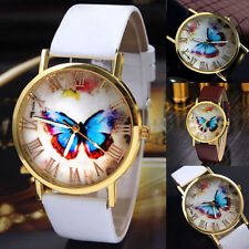 Womens Butterfly Leather Strap Ladies Fashion Watches Analog Quartz Wrist Watch
