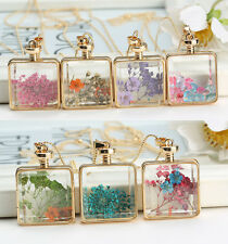 Hot Real Dried Pressed Flower Pendant Necklace Square Glass Gold Floating Locket